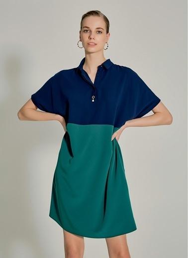 NGSTYLE Essentials - Oversize Renk Bloklu Elbise Lacivert